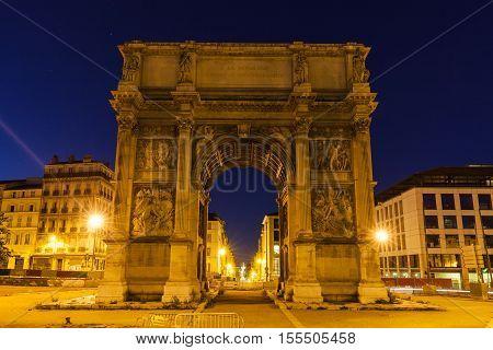 Arc de la Porte d'Aix in Marseille. Marseille Provence-Alpes-Cote d'Azur France.