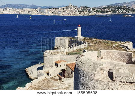 Lighthouse on If island in Marseille. Marseille Provence-Alpes-Cote d'Azur France.