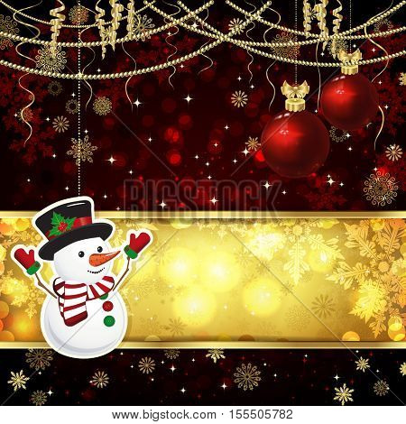 Christmas card with Christmas decor, snowflakes on a golden and red background.