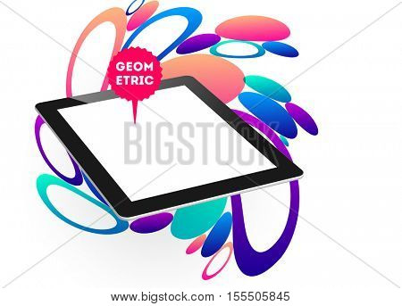 Abstract Vector Background with Liquid Bubbles. Circles Pattern with Tablet PC Icon for Business Presentations, Application Cover or Web Site Design.