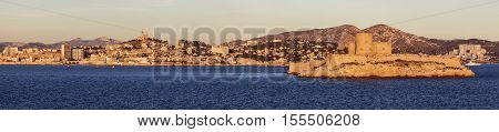Marseille panorama from Frioul archipelago seen at sunrise. Marseille Provence-Alpes-Cote d'Azur France.