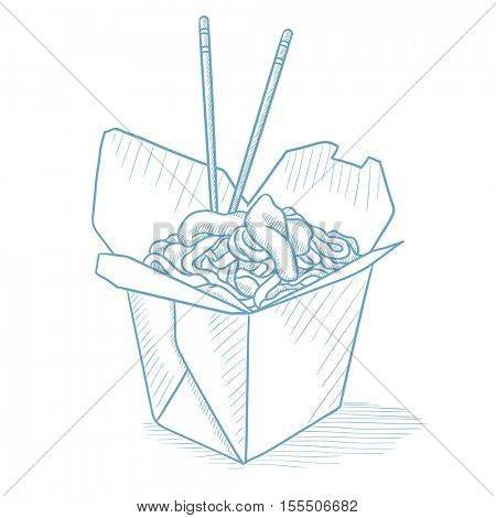 Chinese food and chopsticks in a takeaway container. Chinese food in a takeaway container hand drawn on white background. Chinese food sketch illustration. Chinese food vector illustration.