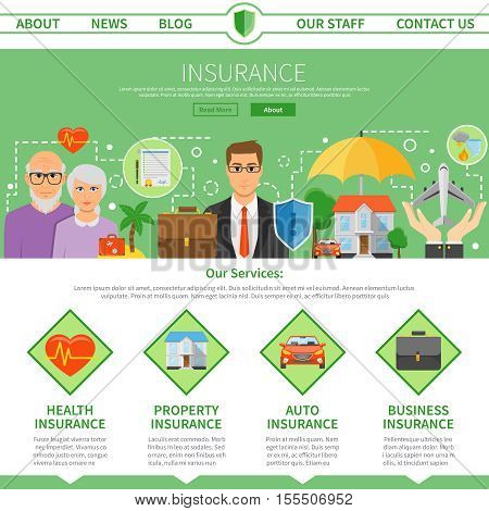 Insurance company services one page site design with policy specifications and flat icons symbols abstract vector illustration