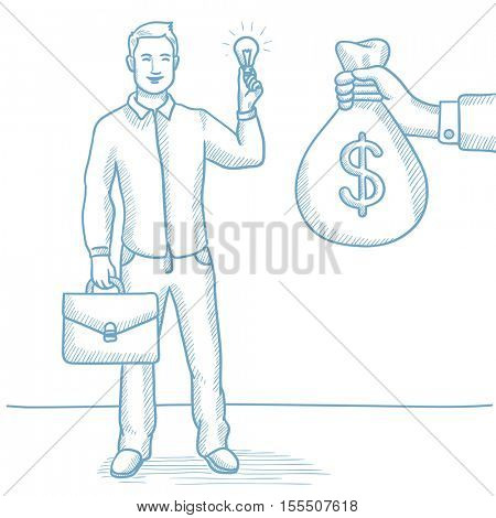 Businessman exchanging his idea bulb to money bag. Happy man having business idea. Business idea concept. Exchange of business idea on money. Hand drawn vector sketch illustration on white background.