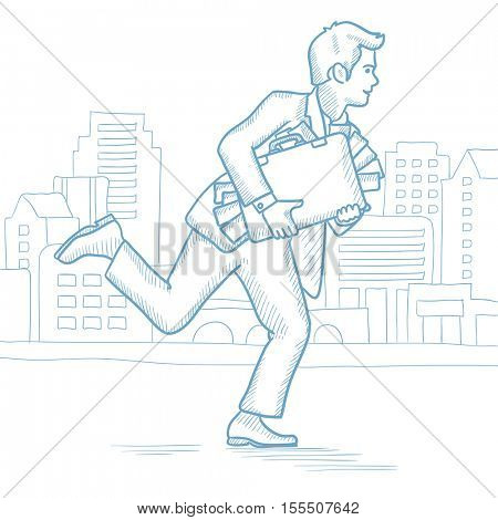 Cheerful businessman running in the city with a briefcase full of money. Caucasian businessman carrying briefcase overflowing with money. Hand drawn vector sketch illustration on white background.