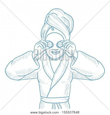 Happy woman with face mask and towel on her head. Woman in robe having beauty treatments. Woman with clay mask on face and cucumber on eyes. Hand drawn vector sketch illustration on white background.