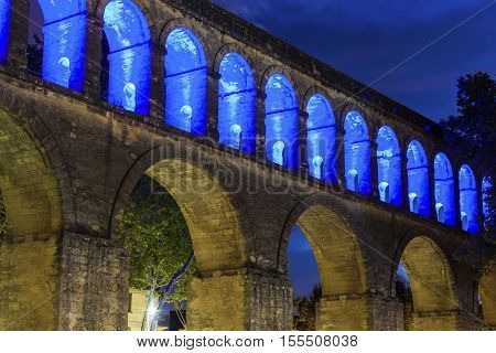 Saint Clement Aqueduct in Montpellier. Montpellier Occitanie France.