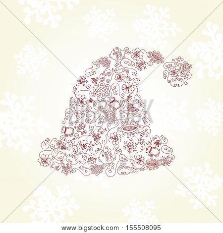 Vector Santa hat  on snow background- illustration
