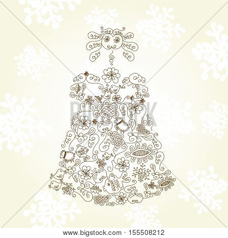 Vector Christmas doll  on beige background - illustration