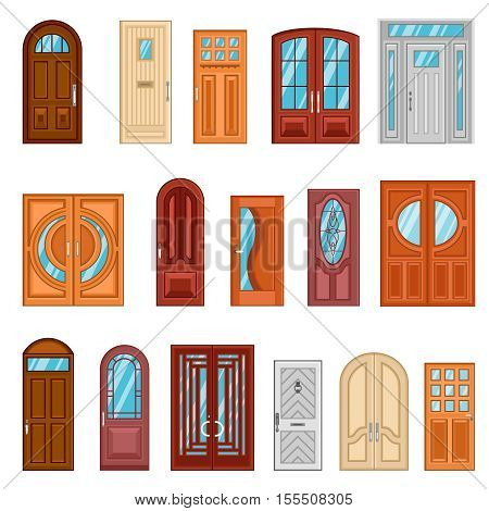 Design collection of detailed colorful front and interior doors to private houses and public buildings flat vector illustration