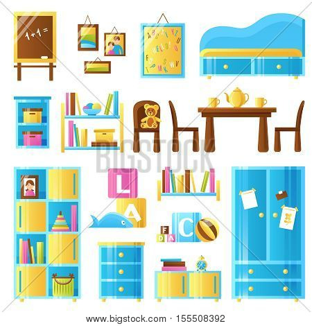 Baby room furniture colored icons set of toys chalkboard wardrobe commode shelves isolated vector illustration