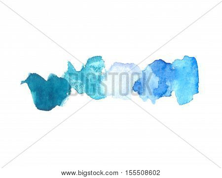 Abstract watercolor texture with painted stains and strokes. Delicate artistic background. Mix of blue colors