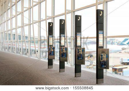 HONG KONG - OCTOBER 8 2016 : Payphones in Hong Kong International Airport