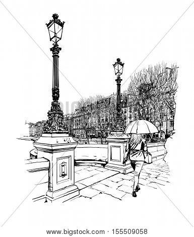 France - Paris, Pont Neuf under the rain - vector illustration