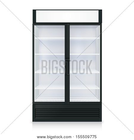Realistic freezer template with transparent door and glass on white background isolated vector illustration
