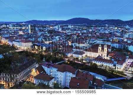 Graz panorama from Castle Hill. Graz Styria Austria.