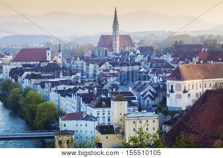 Panorama of Steyr in the morning. Steyr Upper Austria Austria..