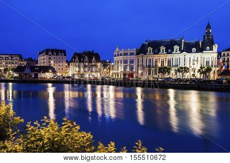 Panorama of Trouville-sur-Mer with city hall. Trouville-sur-Mer Normandy France.