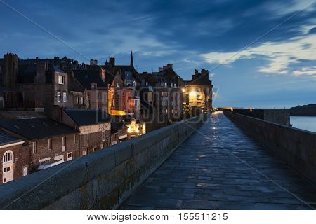 St-Malo panorama at night. St-Malo Brittany France