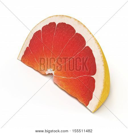Slice section of ripe grapefruit isolated over the white background. 3D illustration