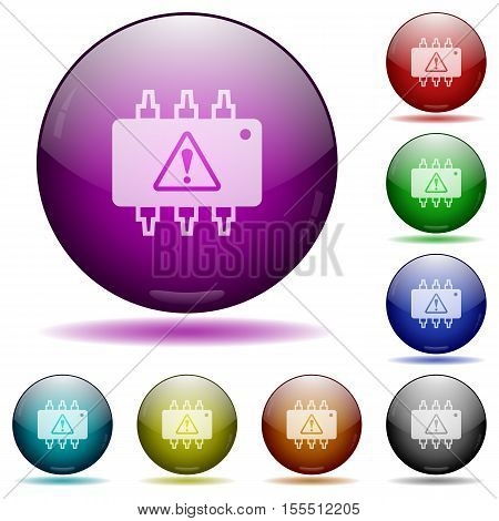 Hardware malfunction color glass sphere buttons with sadows.