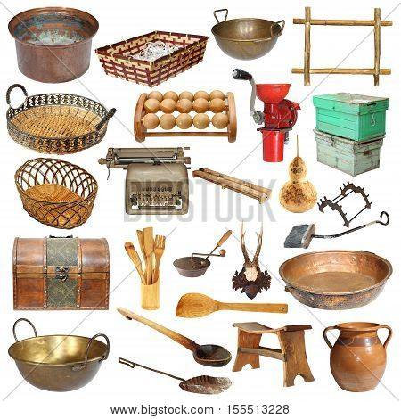 set of vintage objects isolated over white background ready for your design