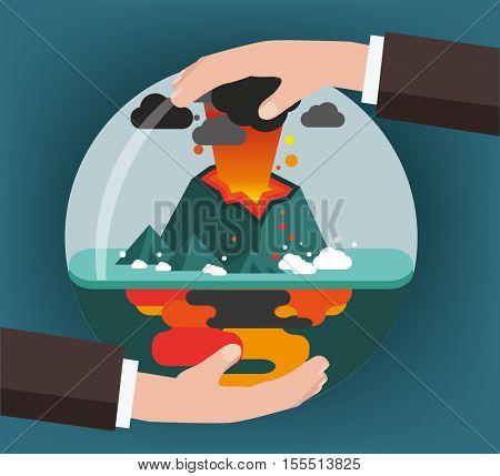 Volcano. Environmental protection, ecology concept vector illustration