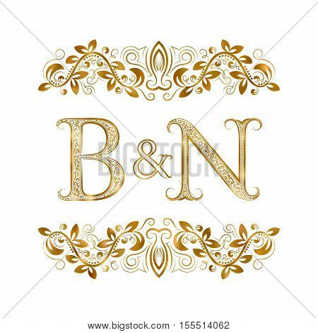 B&N vintage initials logo symbol. Letters B N ampersand surrounded floral ornament. Wedding or business partners initials monogram in royal style.