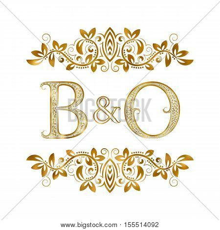 B&O vintage initials logo symbol. Letters B O ampersand surrounded floral ornament. Wedding or business partners initials monogram in royal style.