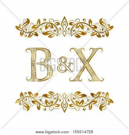 B&X vintage initials logo symbol. Letters B X ampersand surrounded floral ornament. Wedding or business partners initials monogram in royal style.