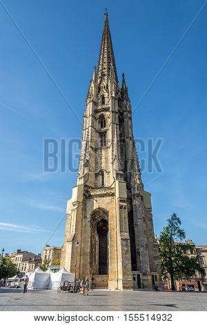 BORDEAUX,FRANCE - AUGUST 31,2016 - Bell Tower of Basilica Saint Michael in Bordeaux. Bordeaux is the worlds major wine industry capital.