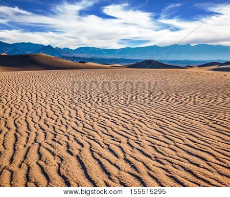 Small ripples on sand dunes.  Early morning  in a picturesque part of Death Valley, USA. Mesquite Flat Sand Dunes