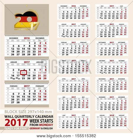 Wall calendar 2017 German and English language. Week start from Monday. Size A4 block size 297x140 mm. Vector Illustration.