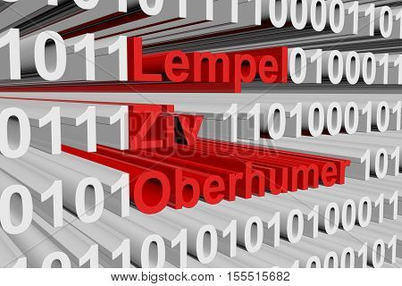 Lempel Ziv Oberhumer in the form of binary code, 3D illustration