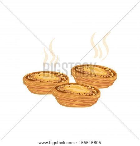 Pastel De Nata Egg Tart Portuguese Famous Symbol. Touristic Well-known Emblems Of Portugal Simple Illustration Isolated On White Background.