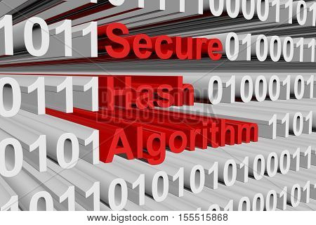 Secure Hash Algorithm in the form of binary code, 3D illustration