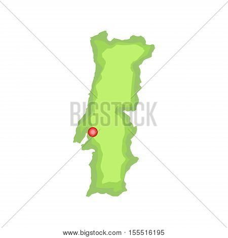 Map Of The Country Portuguese Famous Symbol Symbol. Touristic Well-known Emblems Of Portugal Simple Illustration Isolated On White Background.