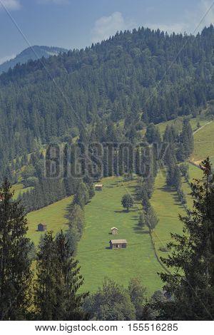 Mountains Landscape From Bucovina, Romania. Mountain Landscape Panorama. Carpathian Mountains Landsc