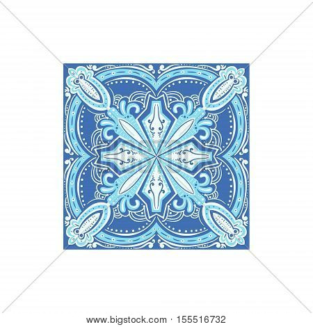 Tin-glazed Azulejo Tile Portuguese Famous Symbol. Touristic Well-known Emblems Of Portugal Simple Illustration Isolated On White Background.