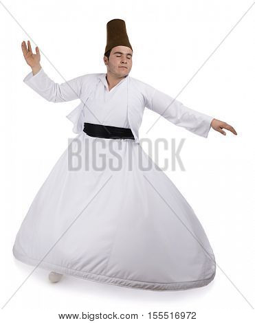 Mevlana dervish whirling from above isolated on white background. poster