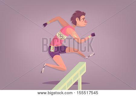 Comic hurdler sportsman. Cartoon Athletics Hurdle Jumping.