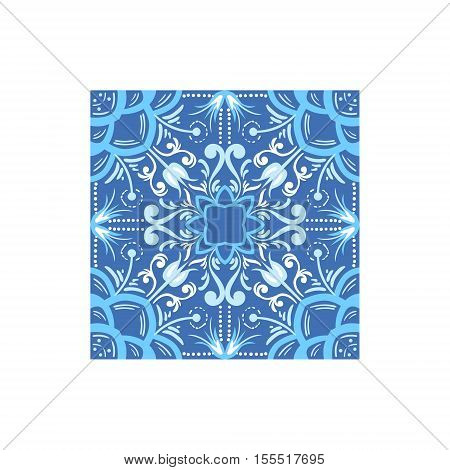 Blue And White Tile Portuguese Famous Symbol. Touristic Well-known Emblems Of Portugal Simple Illustration Isolated On White Background.