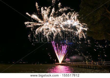 Fireworks on Trasimeno lake in Umbria, Italy