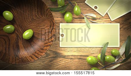 wooden bowl with olives and label, 3d rendering