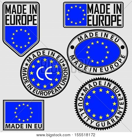 Made In Europe Label Set With Flag, Made In Eu Sign Set, Vector Illustration