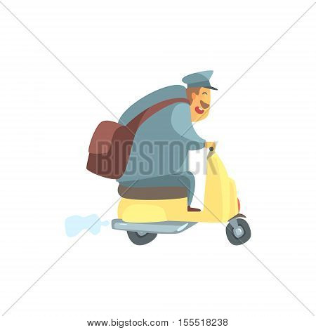 Chubby Postman On Small Scooter. Graphic Design Cool Geometric Style Isolated Drawing On White Background