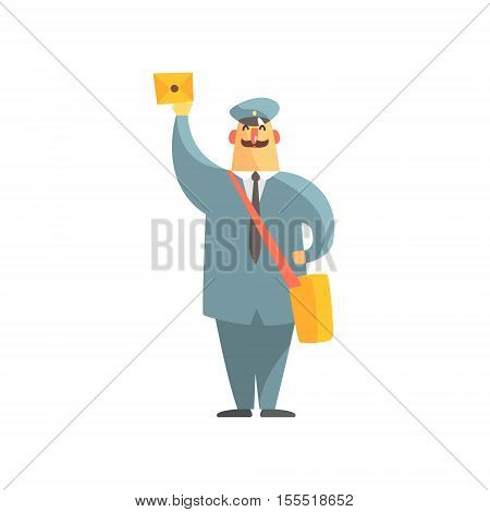 Official Postman In Uniform With Handbag And Letter. Graphic Design Cool Geometric Style Isolated Drawing On White Background
