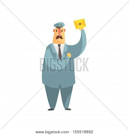 Serious Postman In Uniform Amd A Tie Holding A Letter. Graphic Design Cool Geometric Style Isolated Drawing On White Background