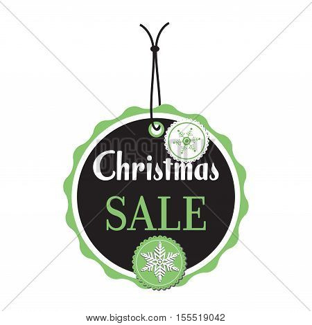 Isolated Christmas tag with the text Christmas sale written in white and green