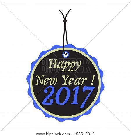 Isolated tag with the text Happy New Year 2017